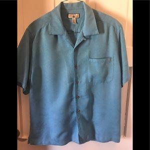 Caribbean Joe camp shirt XL solid medium blue